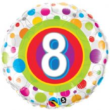 "Age 8 Colourful Dots Foil Balloon (18"") 1pc"